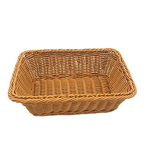 12' Wicker Bread Basket, Woven Tabletop Food Fruit Vegetables Serving, Restaurant Serving Basket (12X8X4 inch)