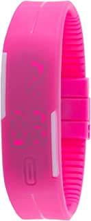 Genius Unisex Digital LED Dial Silicone Band Watch - Pink