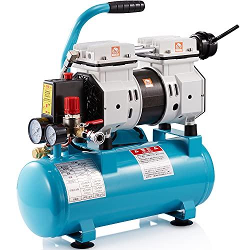 エアーコンプレッサー 家庭用 静音 オイルレス [Zeroire一年品質保証] 100V 業務用 兼用 (静音 オイルレス 8L)