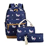 School Backpacks for Teen Girls Lightweight Canvas Backpack Bookbags Set (Dark Blue)