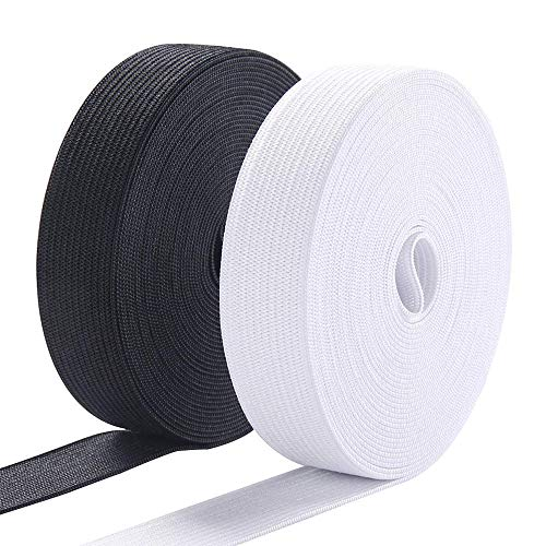 Exsun 1 Inch Elastic for Sewing Waistband for Pants Underwear and Pajamas, Stretch Waistband Elastic 1 Inch Wide Non Roll, 1 Inch Knit Elastic Spool Band Heavy Duty Black and White, 11 Yard X 2 Pack