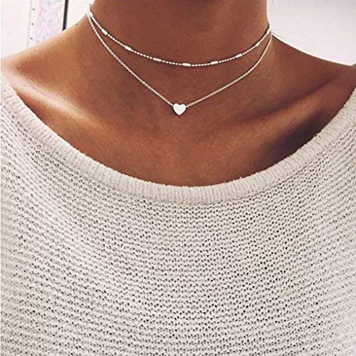 Yalice Double Layered Heart Necklace Chain Ball Satellite Choker Necklaces Jewelry for Women and Girls (Silver)