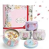 ASANMU - Velas aromáticas para mujer, con caja de regalo, 4 latas, idea regalo para mujer, cera de soja natural, conjunto de velas para Bath Yoga San Valentín, Día de la Madre y Boda