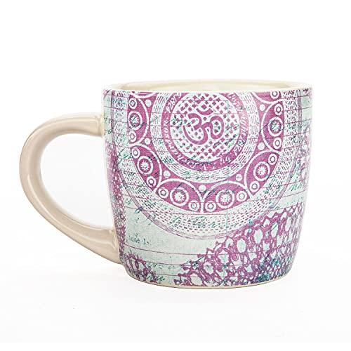 Bodhi YogiMug Keramiktasse 'OMnaments'   Keramiktasse (blau-lila) mit Design-Print   nicht nur für Yoga-Fans   Kaffeetasse, Teetasse, Chai   Geschenk...