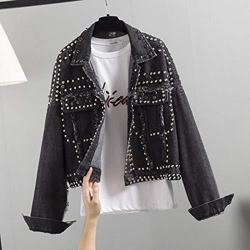 WQDS Giacca Jeans Giacca Denim Donna Donna GIACCHETTE Breve AD Acqua-Nero_L.
