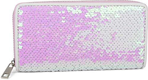 styleBREAKER Damen Portemonnaie mit Wende Pailletten Oberfläche, Reißverschluss, Geldbörse 02040120, Farbe:Perlmutt/Silber
