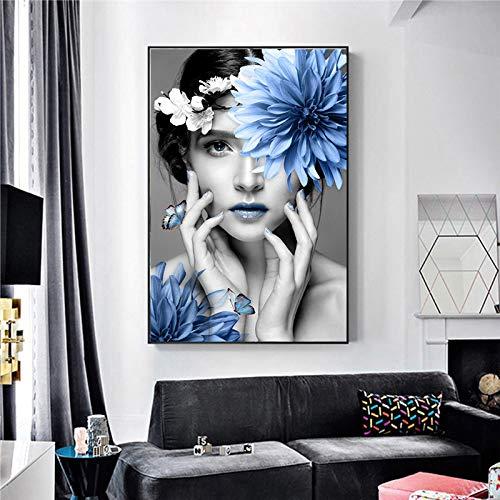 Preisvergleich Produktbild N / A Skandinavischen Stil schöne Blaue blumenmädchen leinwand malerei Wand Nordic Dekoration Kunst rahmenlose malerei 30 cm x 45 cm
