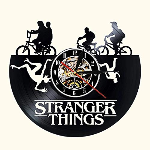 Stranger Things Vinyl Record Wall Clock Modern Design Action Movie 3D Decoration Vinyl Clock Wall Clock Living Room Bedroom Decoration