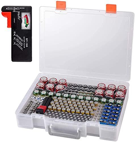 Batterie Aufbewahrungsbox - Batterien Aufbewahrung Organizer mit Batterietester Akkutester BT-618. hält 225 Batterien für 9V Block batterien Akku AA, AAA, C, D, 1.5V - Transparent1