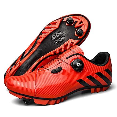 JINFAN Zapatillas De Ciclismo SPD MTB para Hombres Y Mujeres Ideales para Bicicletas De Montaña Ciclo De Fondo XC Incluidas,Red-37EU=(230mm)