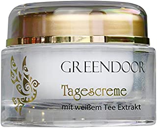 Greendoor Crema de día con té blanco, 50ml, protección reafirmante natural Cuidado de día sin Brillo graso, Cosmética natural Calidad de fabricación, Crema facial, crema para la Cara