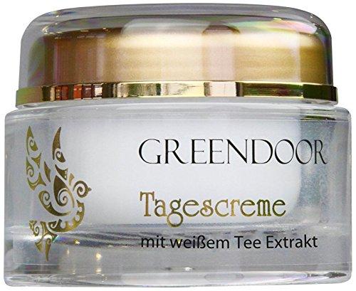 Greendoor Tagescreme Frauen weißer Bio-Tee 50ml, schützende natürliche Tagespflege ohne Fettglanz, mattierend, Naturkosmetik Feuchtigkeitscreme, Gesichtscreme trockene Haut, Creme Gesicht anti aging