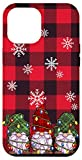 iPhone 12 Pro Max Christmas Lights Phone Case Red Buffalo Plaid Three Gnomes Case