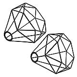 Pantalla de lámpara vintage de alambre para lámpara colgante, diseño de jaula de metal, forma de diamante, para lámpara de pie, lámpara de pared, lámpara de techo, comedor, cocina, pasillo, 2 unidades