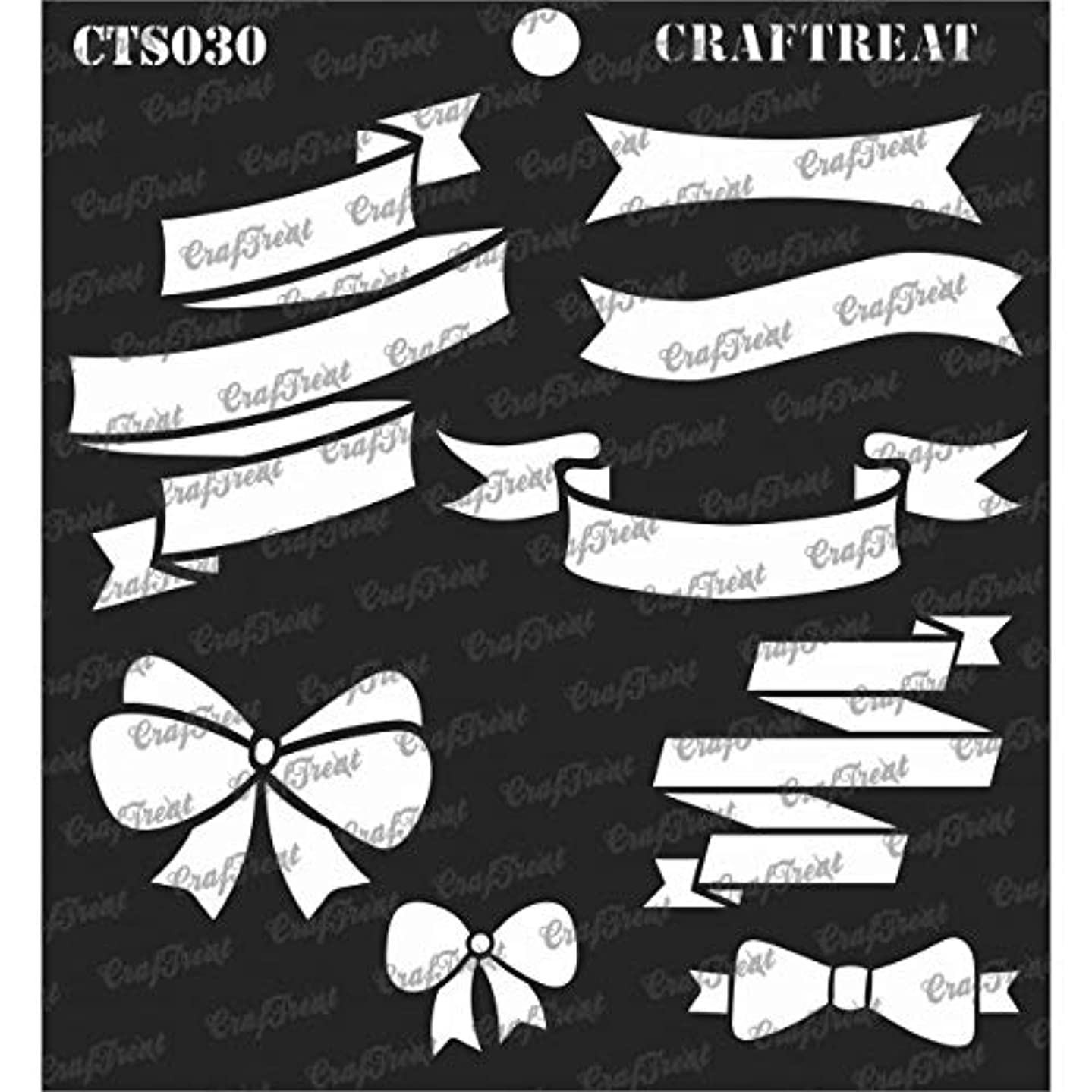 CrafTreat Stencil - Ribbon Banners   Reusable Painting Template for Journal, Notebook, Home Decor, Crafting, DIY Albums, Scrapbook and Printing on Paper, Floor, Wall, Tile, Fabric, Wood 6