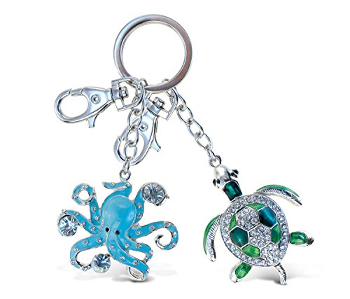 Puzzled Green Sea Turtle and Blue Octupus Sparkling Charms - Ocean Sea Life Theme - Set of 2 - Unique and Useful Gift and Souvenir - Item #K6528-6519