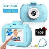 RAYROW Cámara Digital para niños, 2800W HD Pixel Camera, Pantalla táctil de 3.0 Pulgadas y Compatible con WiFi, Tarjeta SD de 16 GB, Regalo para cumpleaños de niños y niñas de 3 a 10 años,Azul