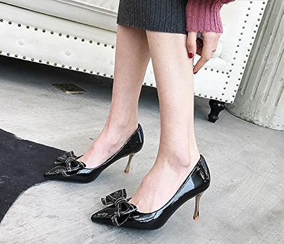 AJUNR Femmes Loisirs été Mode Arc A Fait Cuir de Brevet 6cm de Talons Hauts Tous-Match Très Bien avec Chaussures Sexy Bouche Peu Profonde Noir