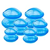 QISEEYA 6 Pieces Cupping Therapy Set Silicone Cupping Therapy, 3 Sizes Professional Studio and Home Cupping Set, More Potent Suction, Suitable for Cellulite, Joint Pain Relief, Myofascial Massage Blue