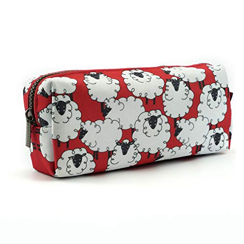 Estuche de lona de oveja Kawaii para bolígrafos, estuche estacionario, bolsa de maquillaje, caja de gadget (ovejas)