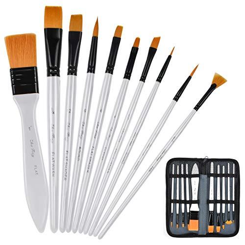 PinselSet, 10 Stück Acryl Malerei Pinsel, Künstler Pinsel Set für Aquarell Acryl & Ölgemälde, Nylon Malen Pinsel Ölpinsel Künstlerpinsel für Anfänger Profis Kinder Acrylfarben (Weiß)