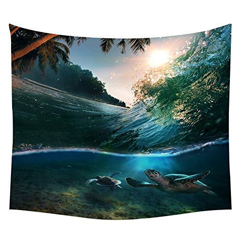 KHKJ Tapiz de Planta Tropical Sunset Wall Hanging Waves Picnic Beach Decoración Barco Manta Tapiz de Estrella de mar A2 95x73cm