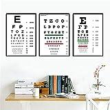 Henypt 3 Sehkraft Test ChartsBest Sehkraft Test Poster und drucken Kunst Wandbilder für Wohnzimmer Dekoration-35 * 50 * 3 mit Rahmen