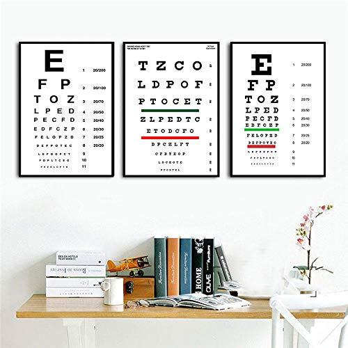 Henypt 3 Sehkraft Test ChartsBest Sehkraft Test Poster und drucken Kunst Wandbilder für Wohnzimmer Dekoration-60 * 80 * 3 mit Rahmen