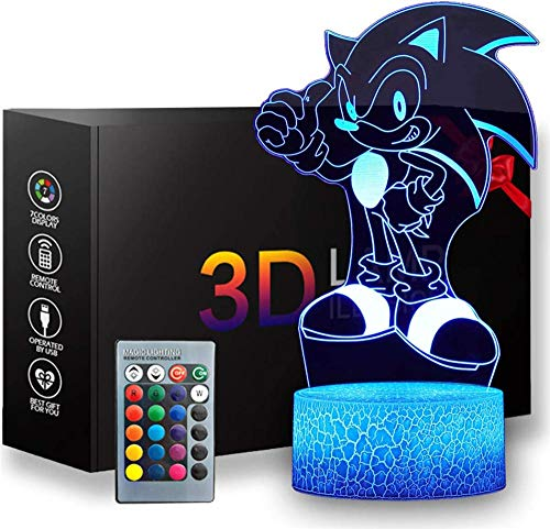 Luz nocturna 3D LED 3D Ilusión óptica lámpara Sonic 16 colores regulable USB con control táctil con mando a distancia para niños y niñas