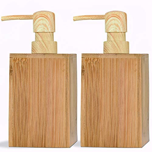 Dispensador de jabón líquido de bambú con bomba de transferencia de agua, botella de loción para encimera, accesorios de baño, cocina plato jabón (2 unidades)