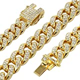 putouzip Men's 12MM 14MM 20MM Chains 18K Gold Plated CZ Fully Iced Out Miami Cuban Link Necklace