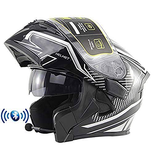 Bluetooth Integrado Casco de Moto Modular con Doble Anti Niebla Visera Cascos de Motocicleta ECE Homologado para Adultos Hombres Mujere(Color:A,Size:L=59-60CM)