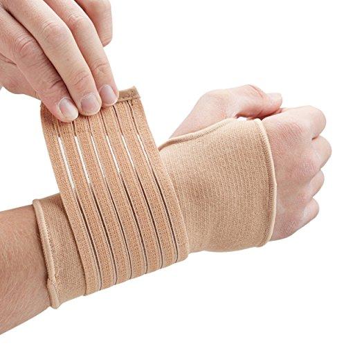 Actesso Handgelenkbandage Handbandage - Ideal für verstauchungen beim sport und sehnenscheidenentzündung - handgelenk stützung ohne verlust der bewegungs (Groß Beige)