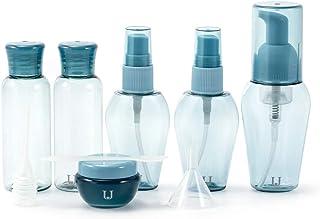 Funien旅行サイズトイレタリーボトルセット化粧品メイクアップ液体容器漏れ防止トラベルアクセサリー収納ポーチ付き男性女性女性用