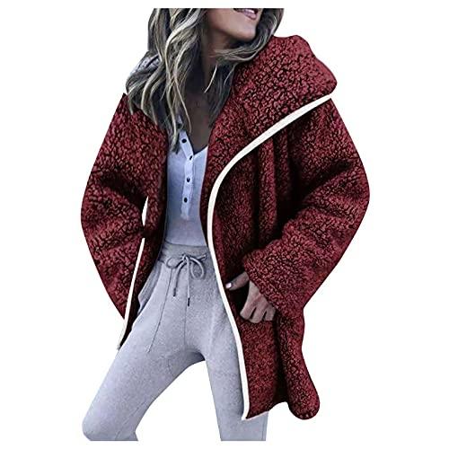CCOOfhhc Cardigan Damen Lang mit Kapuze Plüschjacke Kapuzenjacke Warm Mantel mit Taschen Fleece Plüschjacke Herbst Einfarbige Pullover Parka Outwear Frauen Übergröße