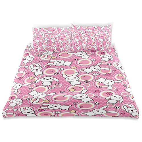 Duvet Cover Set Anime Funny Kawaii Illustration with Rabbits Funky Animals Bunnies Kids Humor Theme Print Decorati Decorative 3 Piece Bedding Set with 2 Pillow Shams
