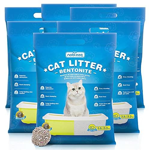Nobleza Arena de Bentonita para Gatos,22.8L-19.2KG,Arena para Gato Super Absorbente y Biodegradable