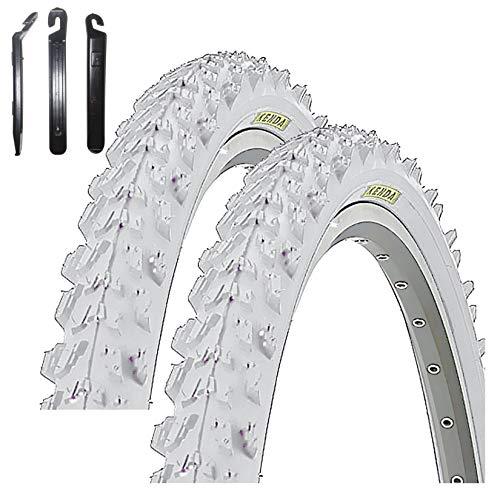 maxxi4you Kenda K-829 - Juego de 2 cubiertas para bicicleta de montaña de 26' (50-559, 26 x 1,95', incluye 3 desmontadores), color blanco