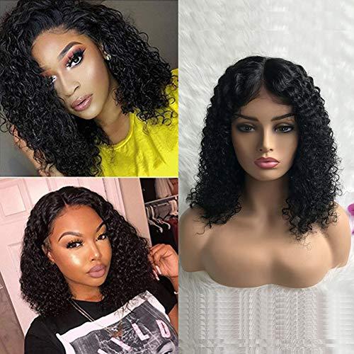Bob Wig Perruque Lace Front Cheveux Humain Vrai Naturel Noir 150% Densité Bresilienne Vierge Humain Hair Boucle Perruque Lace Wig Naturelle Raide 12 pouce