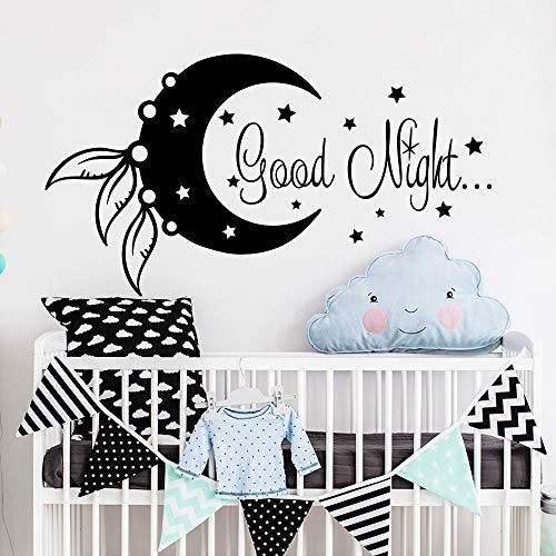 yiyiyaya Etiqueta de la Pared Luna y Estrella Etiqueta Buena Noche decoración Vinilo Etiqueta Pegatinas de Pared para Habitaciones de niños Nursery Kids Room Cute púrpura 58 x 32 cm