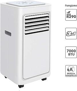 Famgizmo | 3 en 1 LED Aire Acondicionado Móvil Aire Acondicionado Frío Deshumidificador Aire Ventilador | 7000 BTU | 2 Niveles de ventilación | Temporizador | Modo de suspensión| EEK: A | R290