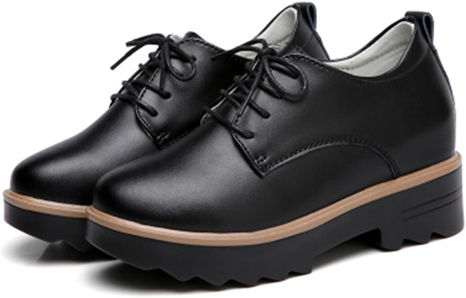 T-JULY Women's Retro Oxfords shoes - Classic Lace-up Increased Within Round Toe Business shoes