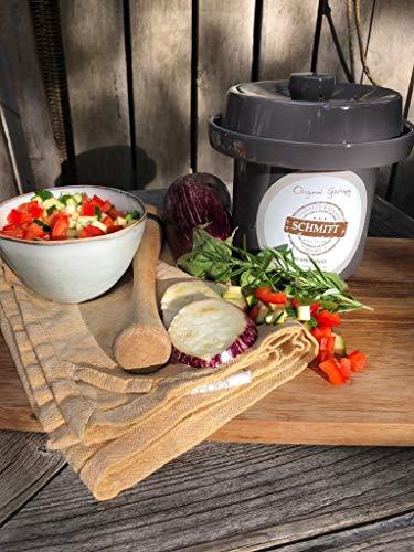 MS Steinzeug Gärtopf Mini Fermentation 2 Liter steingrau Milchsäuregärung Konservieren Einmachen gesunde Ernährung Vitaminbooster optimal für Vegetarier