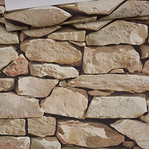 Papel pintado de PVC retro 3D de imitación de piedra, textura moderna para decoración de pared, dormitorio, TV, pared de salón, 0,53 m (ancho) x 10 m (largo) (marrón claro)