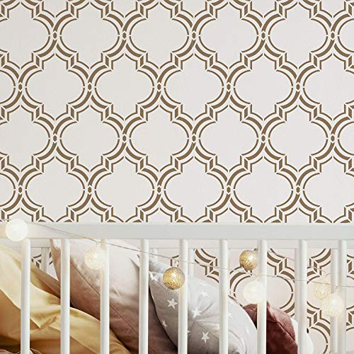 """STENCILIT® Moroccan Double Large Wall Stencil For Painting - XL Size 22""""x 37.5"""" - Diy Moroccan Wall Stencils For Painting Large Pattern - Lattice Paint Stencils"""