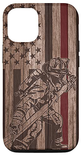 iPhone 12/12 Pro Wood Fireman American Flag Thin Red Line US Firefighter Gift Case
