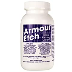 Armour etch is a Fast acting specially formulated glass etching compound that lets you create permanent etched designs on windows mirrors and household glassware. Create your own custom glass etching stencil or use one of our pre-cut stencils. This u...