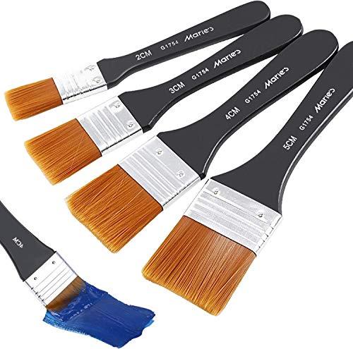 COCOCITY G1754 Pennelli Pittura in Legno Professionale, Set di 4 Pennelli da Parete in Nylon Diverse Dimensioni per Pittura a Olio, Tempera, Pittura Acrilica