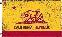 アメリカンフラッグカリフォルニア州旗(レッド&ゴールド)3x5ft (90x150cm)california USA