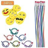 48pcs Kinder Biegebleistift und Emoji Smiley Radiergummis, Biegbare Bleistifte,Flexible Biegsame...